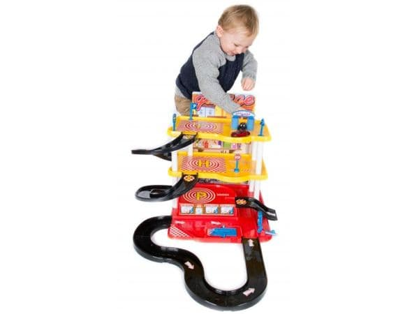 Toy car garage service station set with 3 parking levels 2 die-cast cars & vehicle play track
